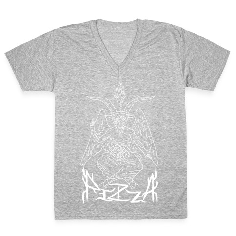 Pizza Baphomet V-Neck Tee Shirt