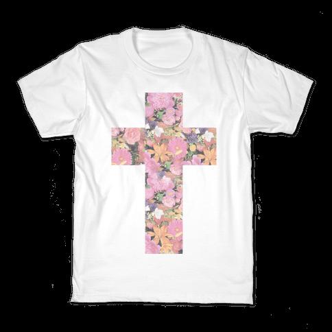 Vintage Floral Cross Kids T-Shirt