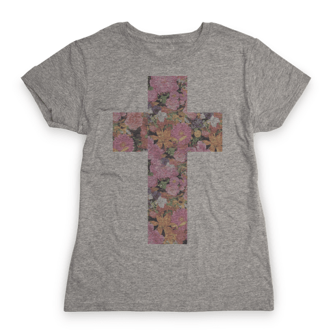 Vintage Floral Cross Womens T-Shirt