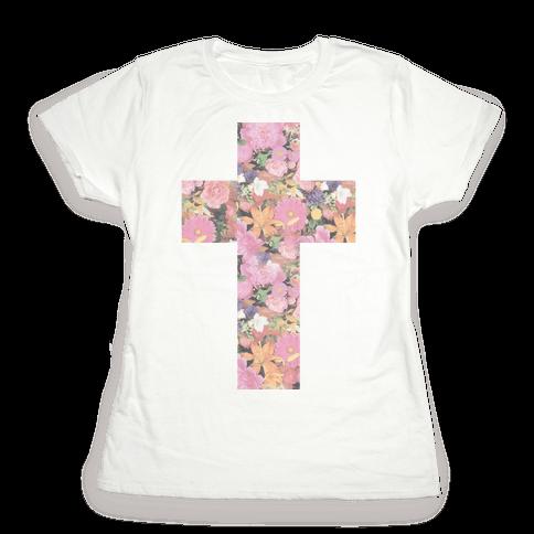 Vintage Floral Cross Womens T-Shirt