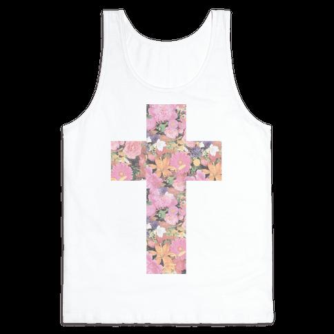 Vintage Floral Cross Tank Top