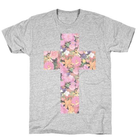 Vintage Floral Cross Mens/Unisex T-Shirt