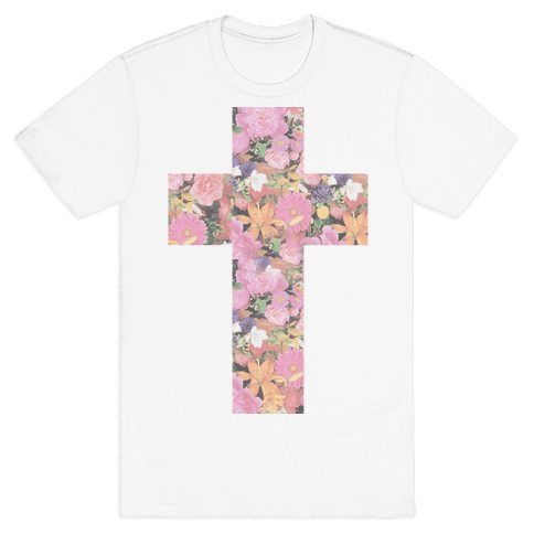 Vintage Floral Cross Mens T-Shirt
