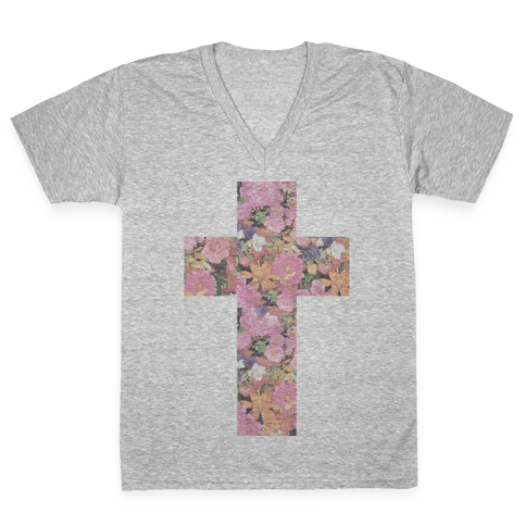 Vintage Floral Cross V-Neck Tee Shirt