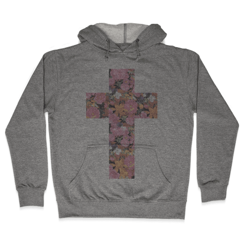 Vintage Floral Cross Hooded Sweatshirt