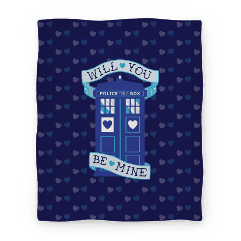 Will You Be Mine (Tardis) Blanket Blanket