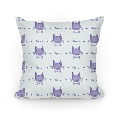 Purple Watercolor Cat Bow Tie Pattern Pillow