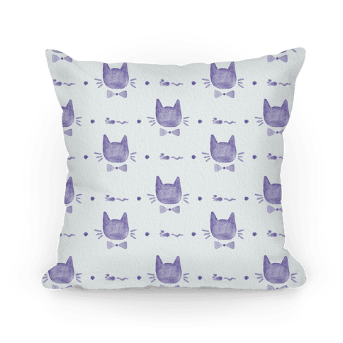 Purple Watercolor Cat Bow Tie Pattern