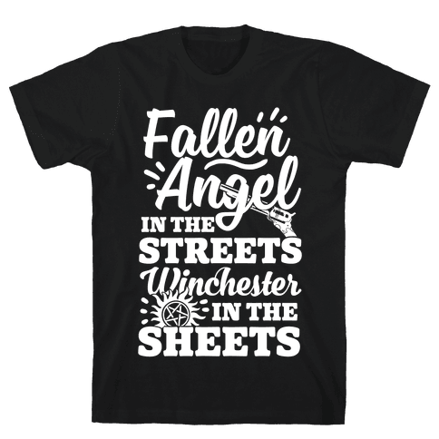 Fallen Angel In The Streets Winchester In The Sheets Mens T-Shirt