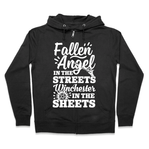 Fallen Angel In The Streets Winchester In The Sheets Zip Hoodie