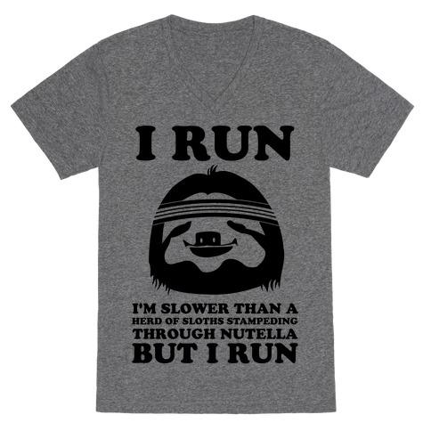 I Run Slower Than A Herd Of Sloths V-Neck Tee Shirt