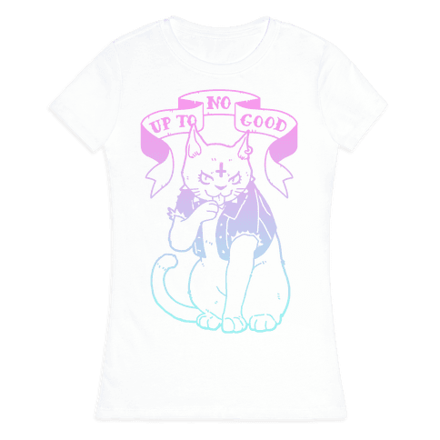 Up to No Good Pastel Goth Kitty Womens T-Shirt