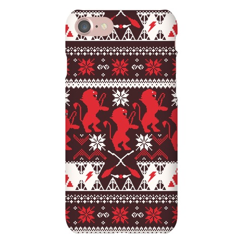 Hogwarts Ugly Christmas Sweater Pattern: Gryffindor Phone Case