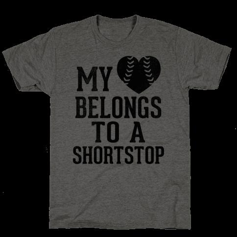 My Heart Belongs To A Shortstop (Baseball Tee) Mens T-Shirt