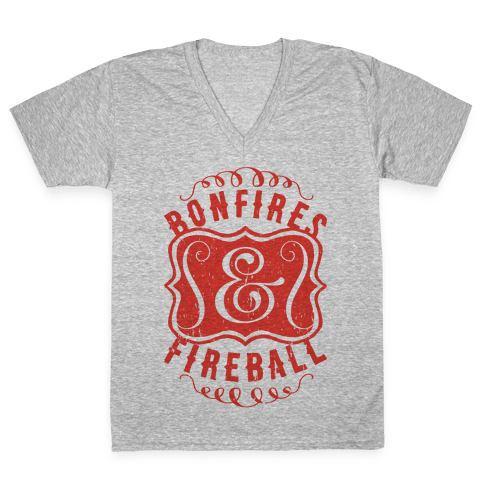 Bonfires And Fireball V-Neck Tee Shirt