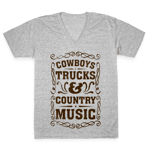 Cowboys Trucks & Country Music V-Neck Tee Shirt