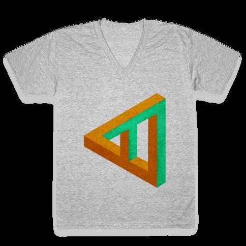Triangle Optical Illusion V-Neck Tee Shirt