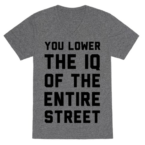 You Lower the IQ of the Entire Street V-Neck Tee Shirt