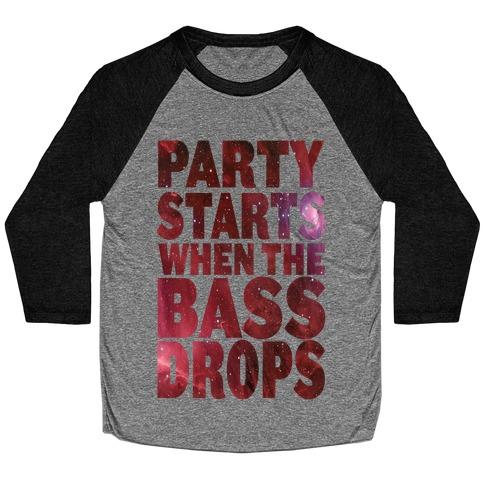 Party Starts When The Bass Drops (tank) Baseball Tee
