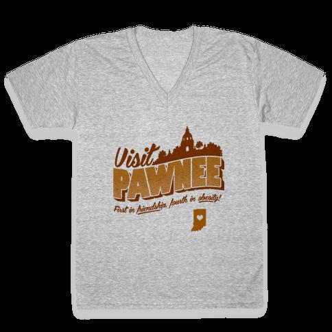 Visit Pawnee V-Neck Tee Shirt
