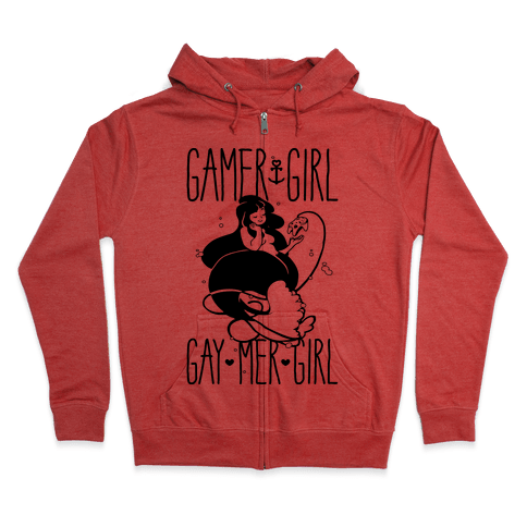 Gamer Girl Gay Mer Girl Zip Hoodie