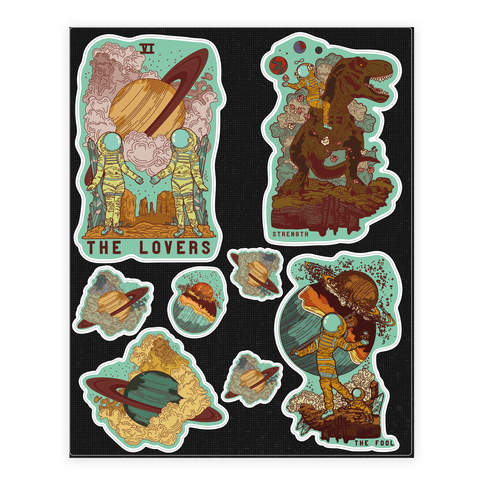 Space Tarot Cards  Sticker/Decal Sheet