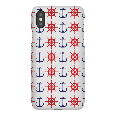 Anchor and Ship Wheel Pattern Phone Case