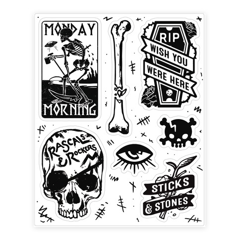 Skeletal Sticker and Decal Sheet