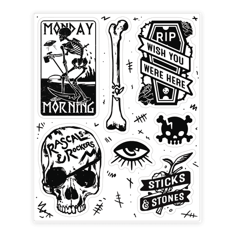 Skeletal  Sticker/Decal Sheet