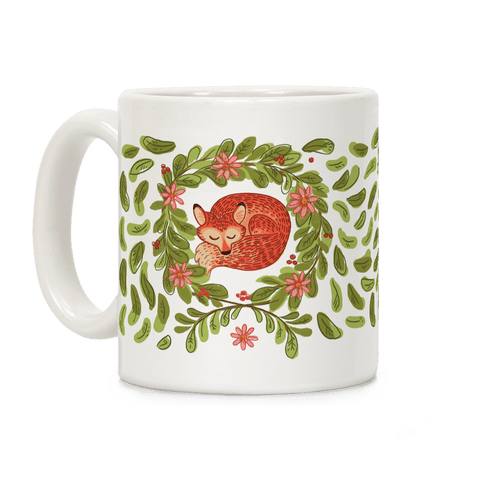 Sleeping Fox Wreath Coffee Mug