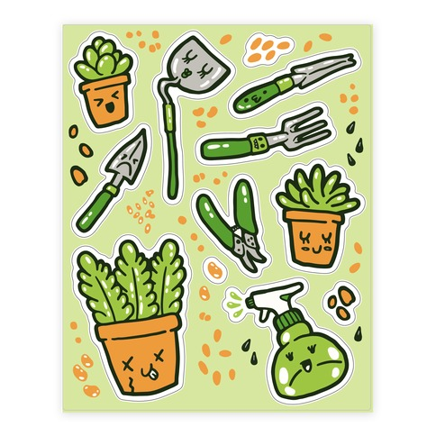 Kawaii Plants and Gardening Tools  Sticker/Decal Sheet