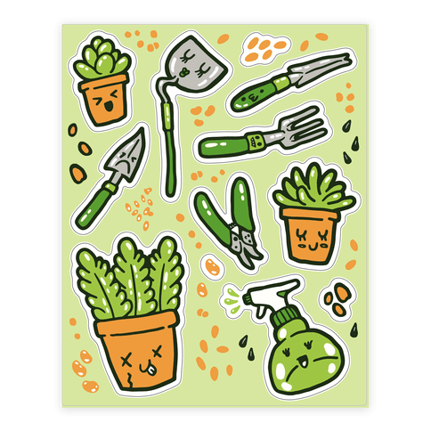 Kawaii Plants and Gardening Tools