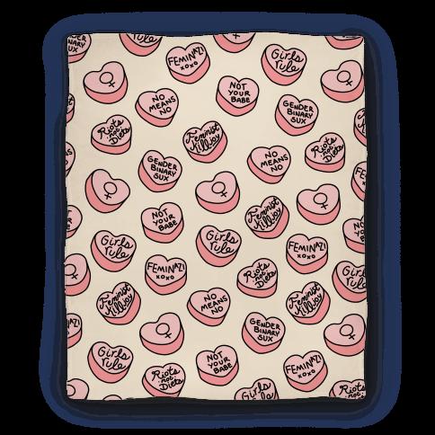 Feminist Conversation Hearts Blanket Blanket