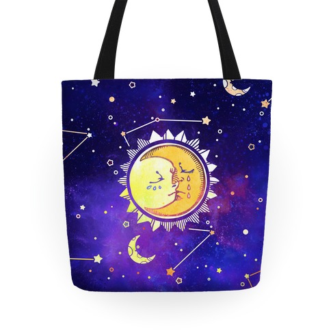 Sun and Moon Faces Tote