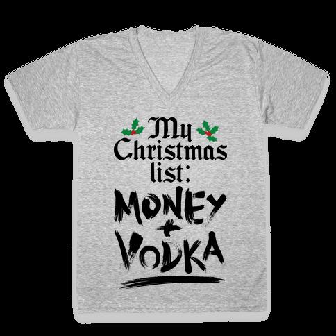 My Christmas List V-Neck Tee Shirt