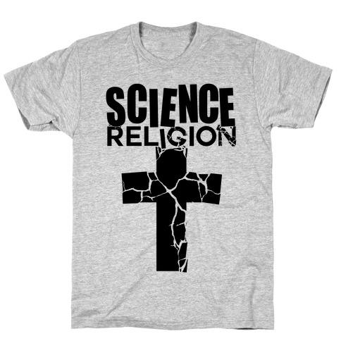Science Crushes Religion Mens/Unisex T-Shirt