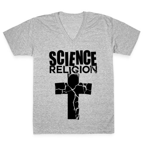 Science Crushes Religion V-Neck Tee Shirt