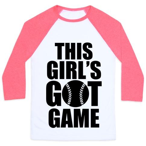 This Girl's Got Game (Softball) Baseball Tee