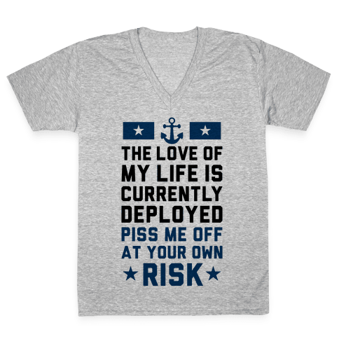 Piss Me Off At Your Own Risk (Navy) V-Neck Tee Shirt