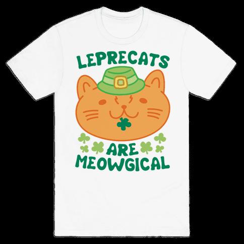 Leprecats Are Meowgical Mens T-Shirt