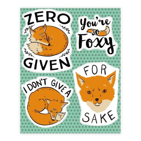 Fox Puns Sticker/Decal Sheet
