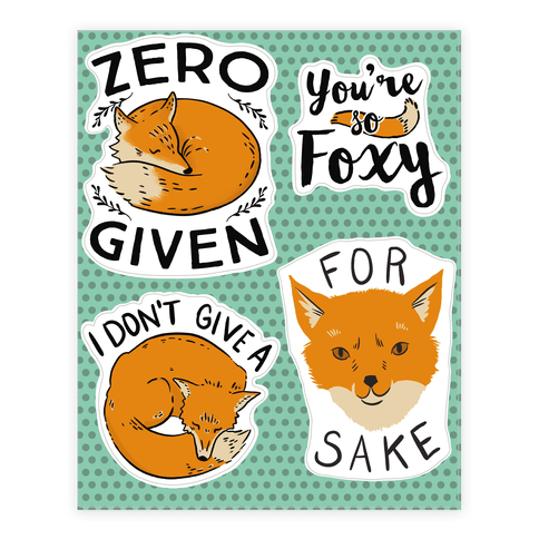 Fox Puns Sticker/Decal Sheet