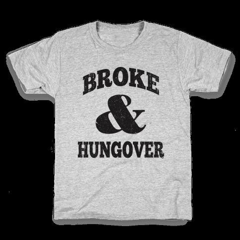 Broke And Hungover (Vintage Baseball) Kids T-Shirt