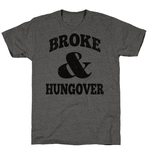 Broke And Hungover (Vintage Baseball) Mens T-Shirt
