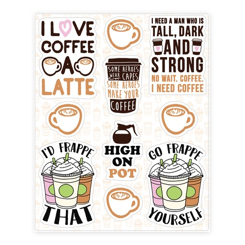 Coffee Pun Sticker and Decal Sheet