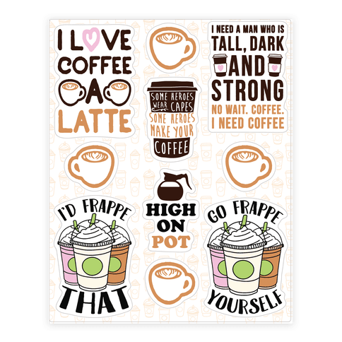 Coffee Pun  Sticker/Decal Sheet