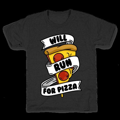 Will Run For Pizza Kids T-Shirt
