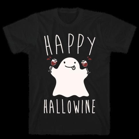 Happy Hallowine White Print Mens T-Shirt