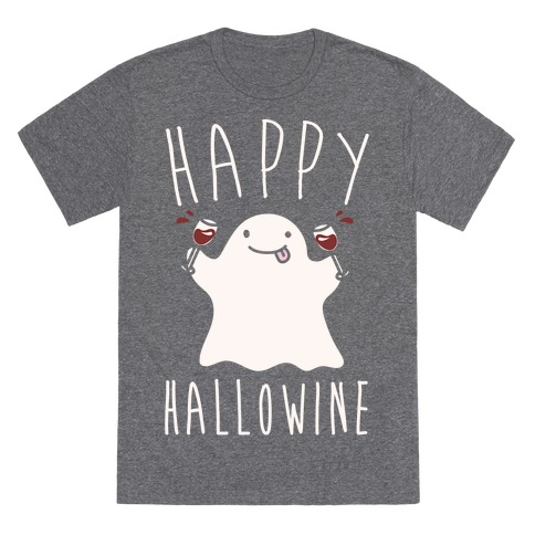 Happy Hallowine White Print T-Shirt