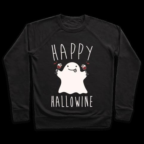 Happy Hallowine White Print Pullover